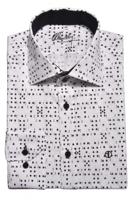 Bielo-čierna Extra Slim Fit košeľa