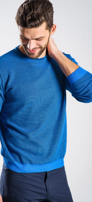 Blue cotton crewneck