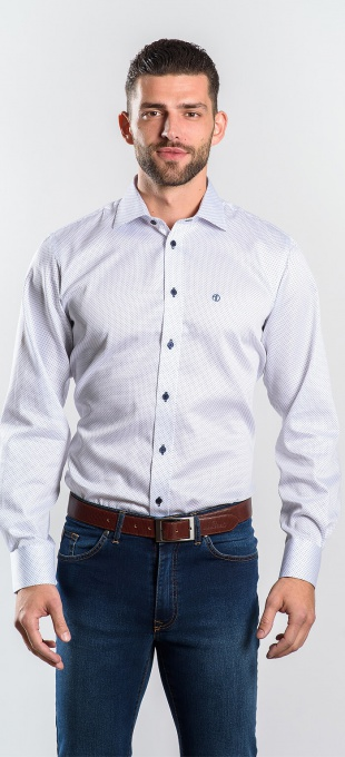 White Slim Fit shirt with blue dots