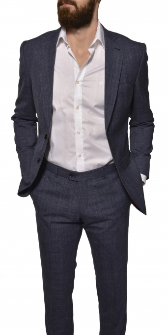 LIMITED EDITION Blue wool - silk - linen suit