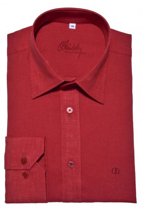 Red Slim Fit linen shirt
