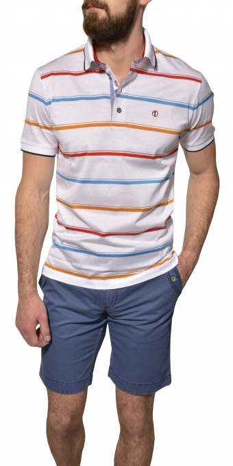 White striped polo shirt