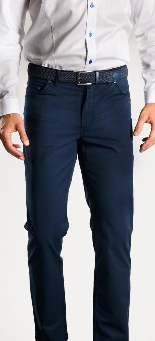 Dark blue cotton trousers - Basic line