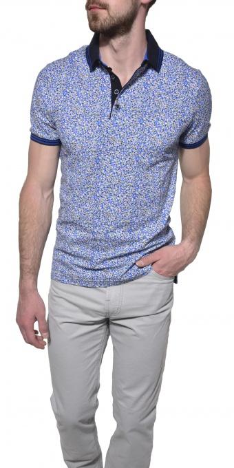 Blue - yellow piqué polo shirt