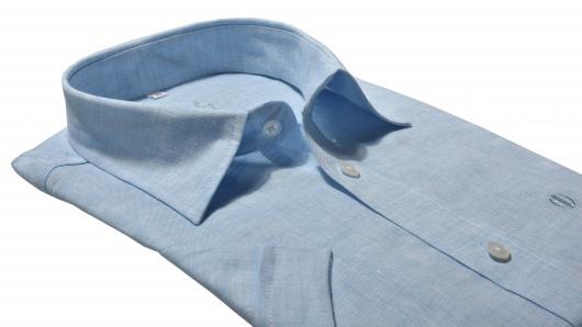 Modrá ľanová Slim Fit košeľa s krátkym rukávom
