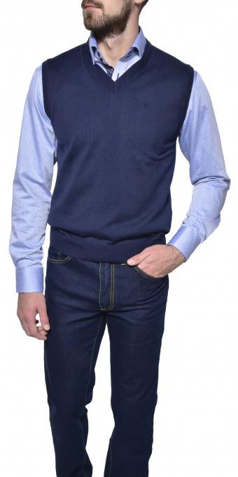 Dark blue cotton vest