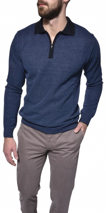 Blue long sleeve polo