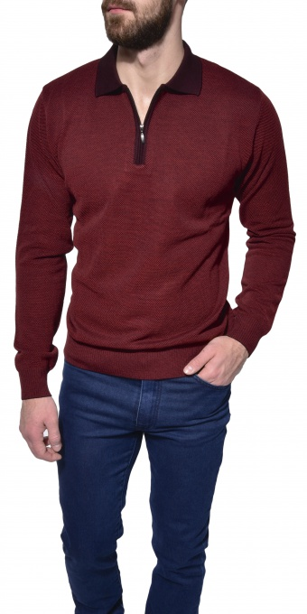 Burgundy long sleeve polo