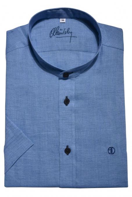 Modrá ľanová Extra Slim Fit košeľa s krátkym rukávom