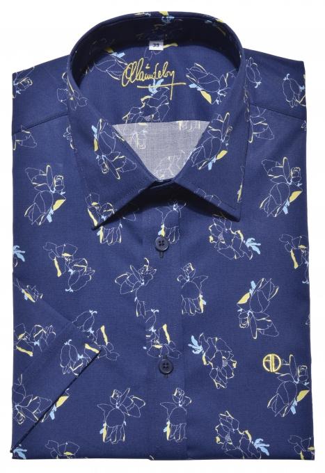 Modrá výrazná Extra Slim Fit košeľa s krátkym rukávom
