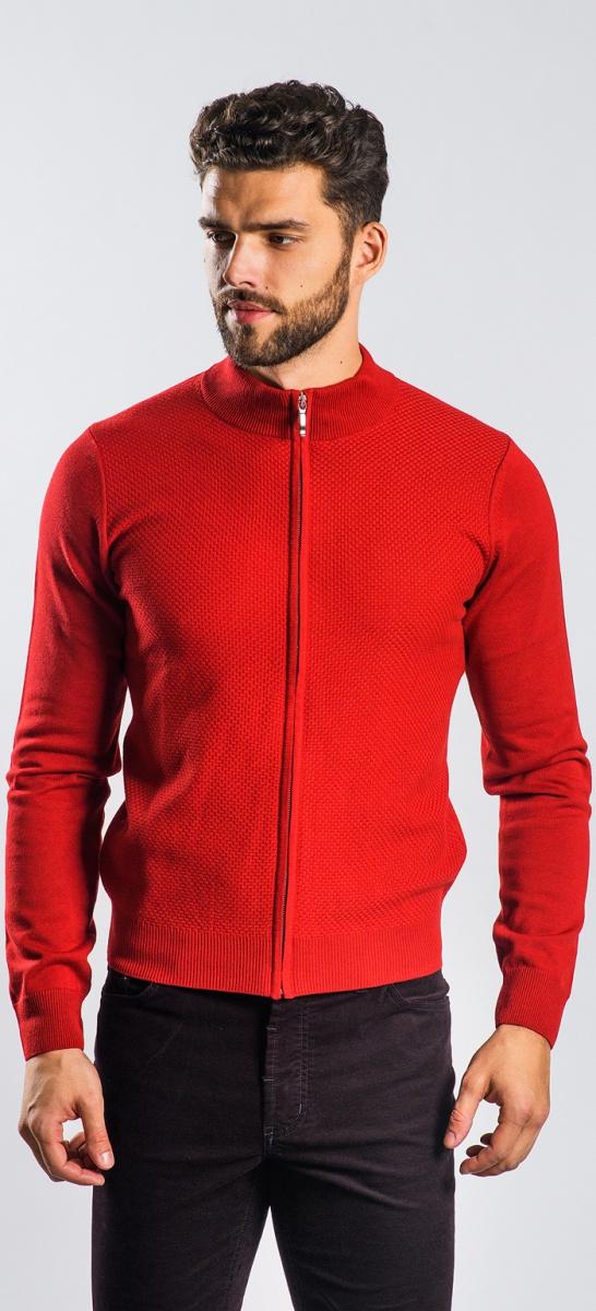 Bordový sveter na zips