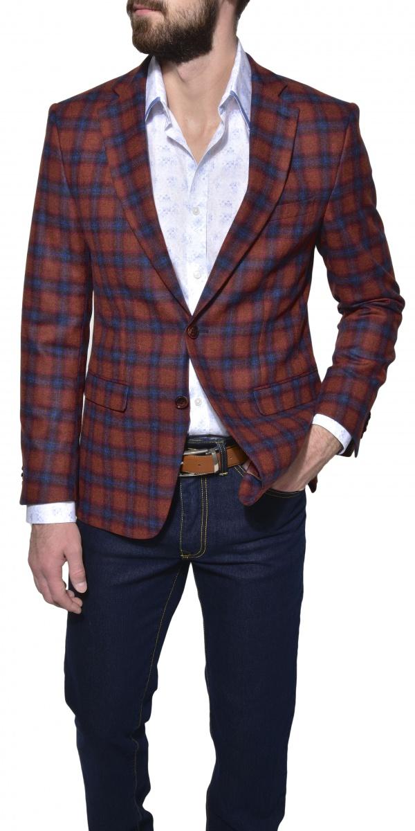 Červené vlnené karované sako