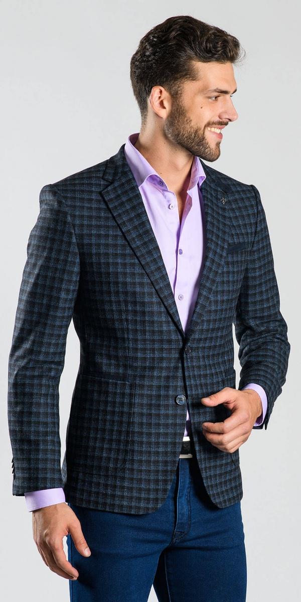 Black and blue checkered blazer