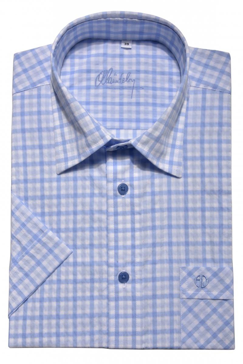 Blue crepe Slim Fit short sleeved shirt