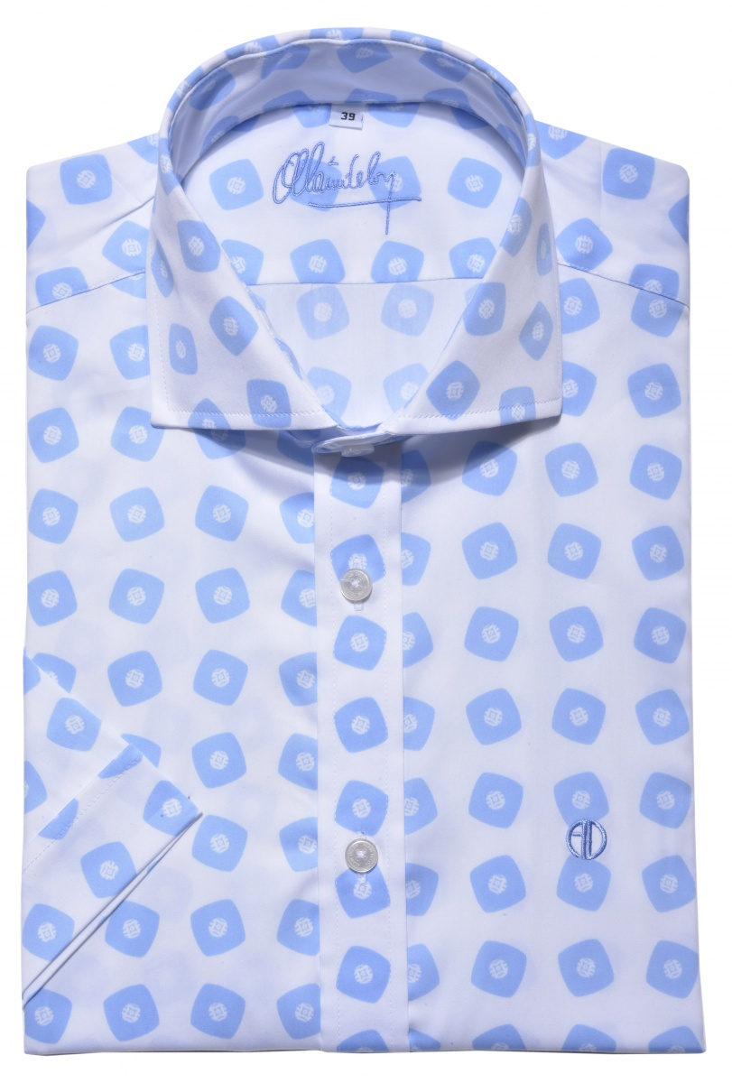 White & blue bold Extra Slim Fit short sleeved shirt