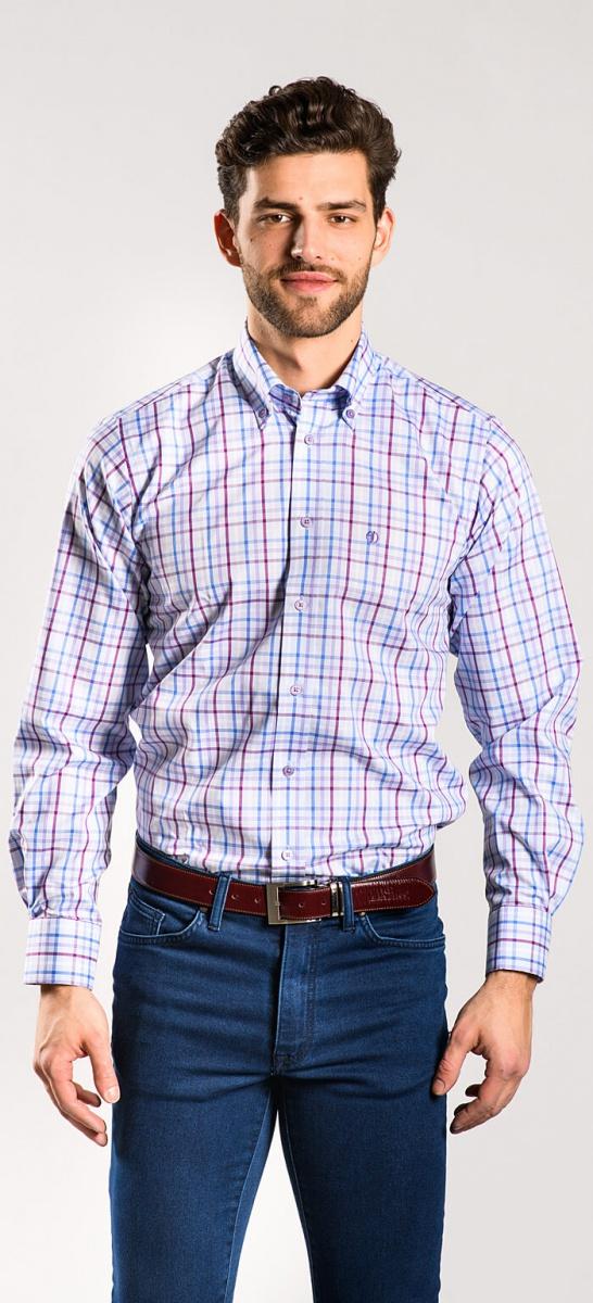 Voľnočasová károvaná Slim Fit košeľa rady basic