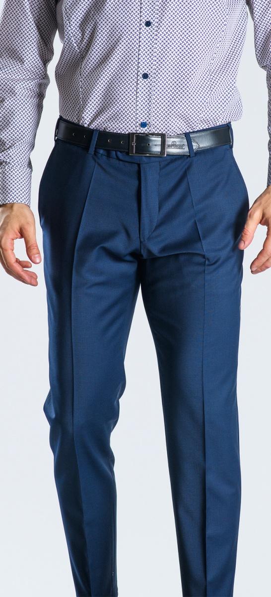 Modré oblekové nohavice