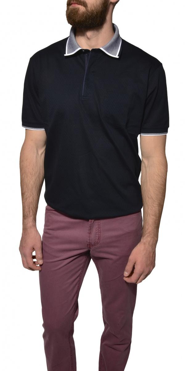 Dark blue patterned polo shirt