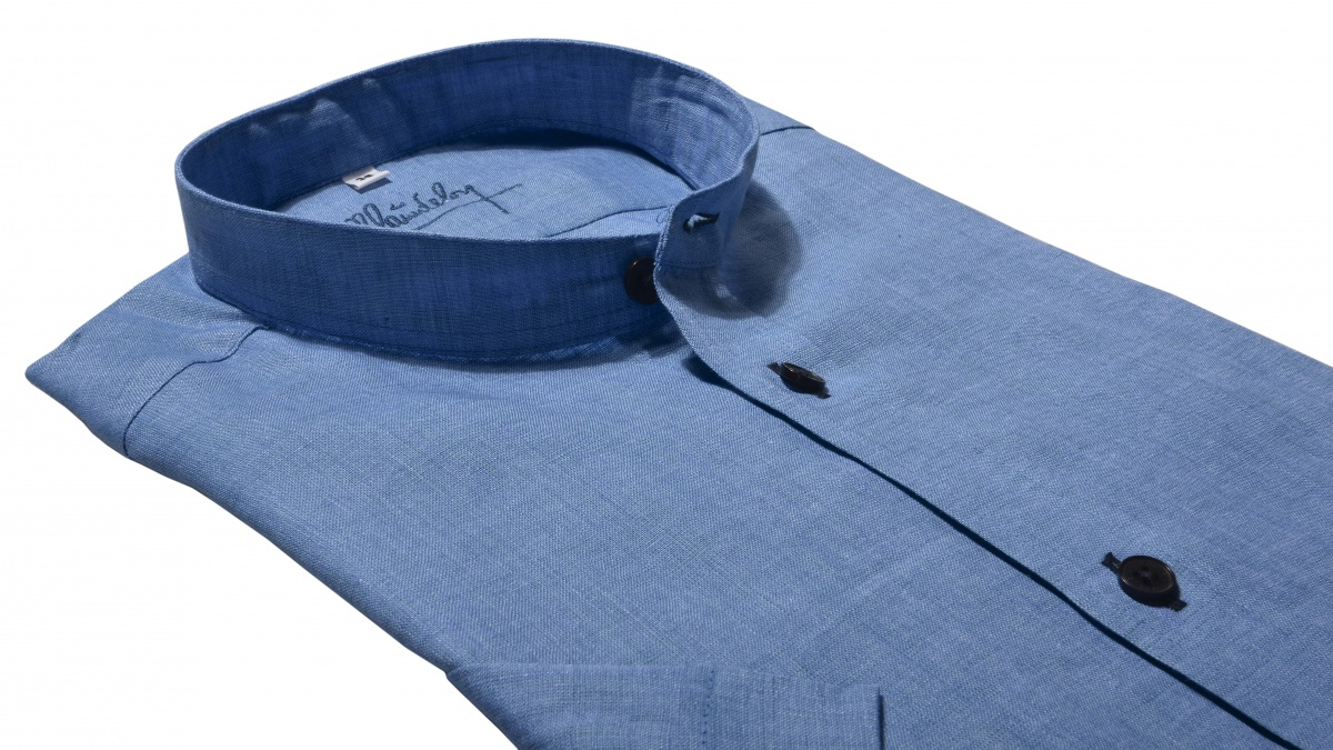 Blue linen Extra Slim Fit short sleeved shirt