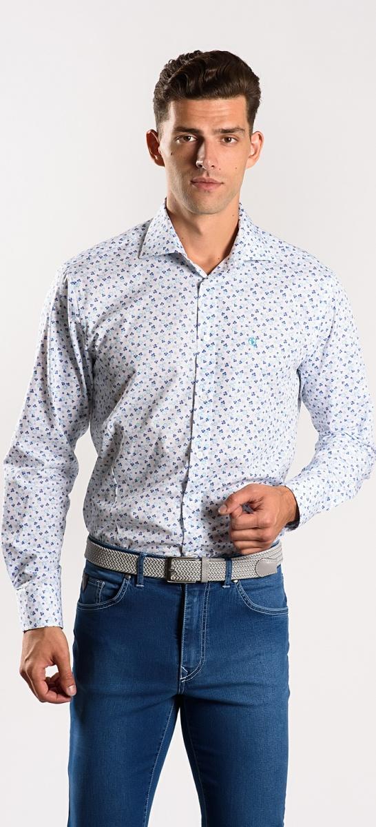 Biela Extra Slim Fit košeľa s modrým vzorom