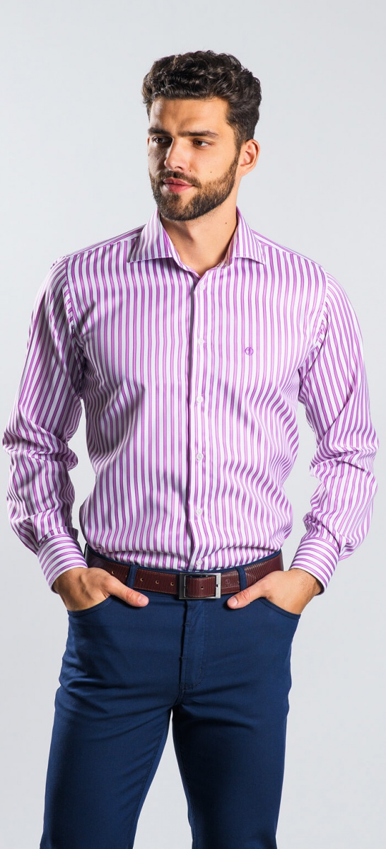 Ružová prúžkovaná Slim Fit košeľa