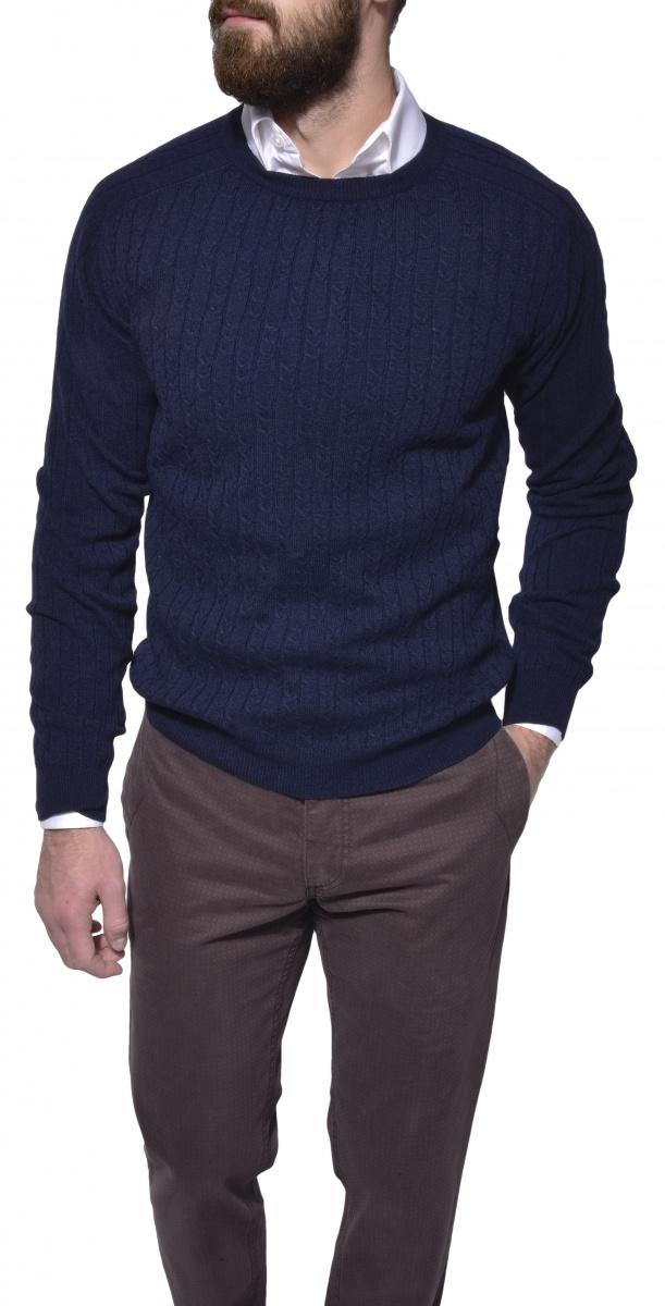 Tmavomodrý pletený pulóver