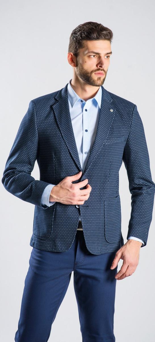 Modré vzorované sako rady Basic