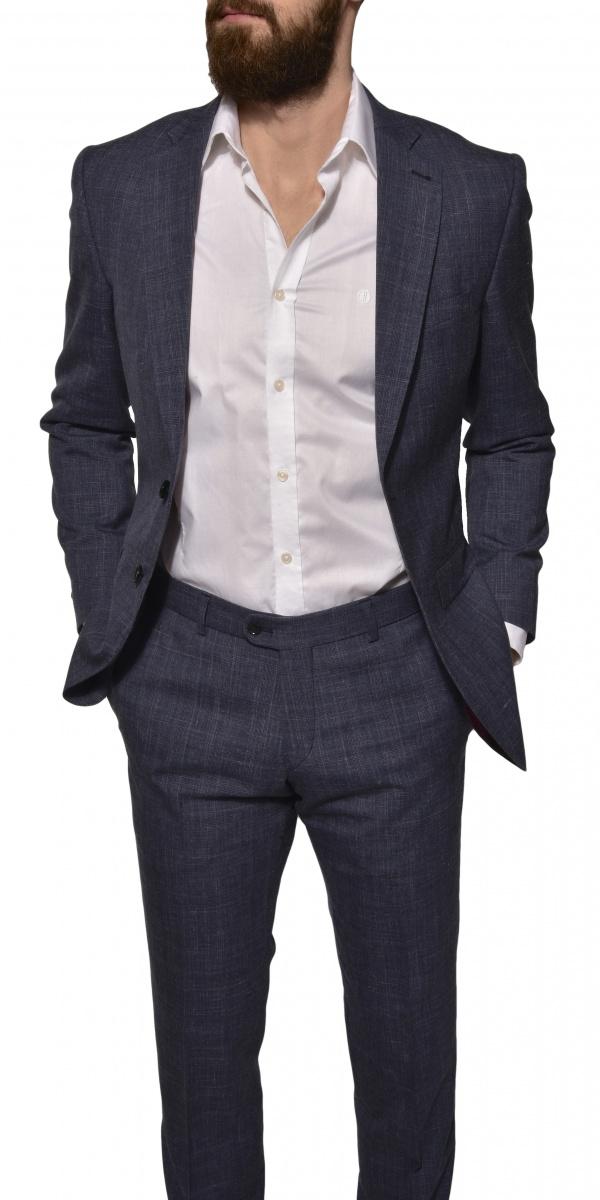 LIMITED EDITION Modrý ľanovo-hodvábno-vlnený oblek