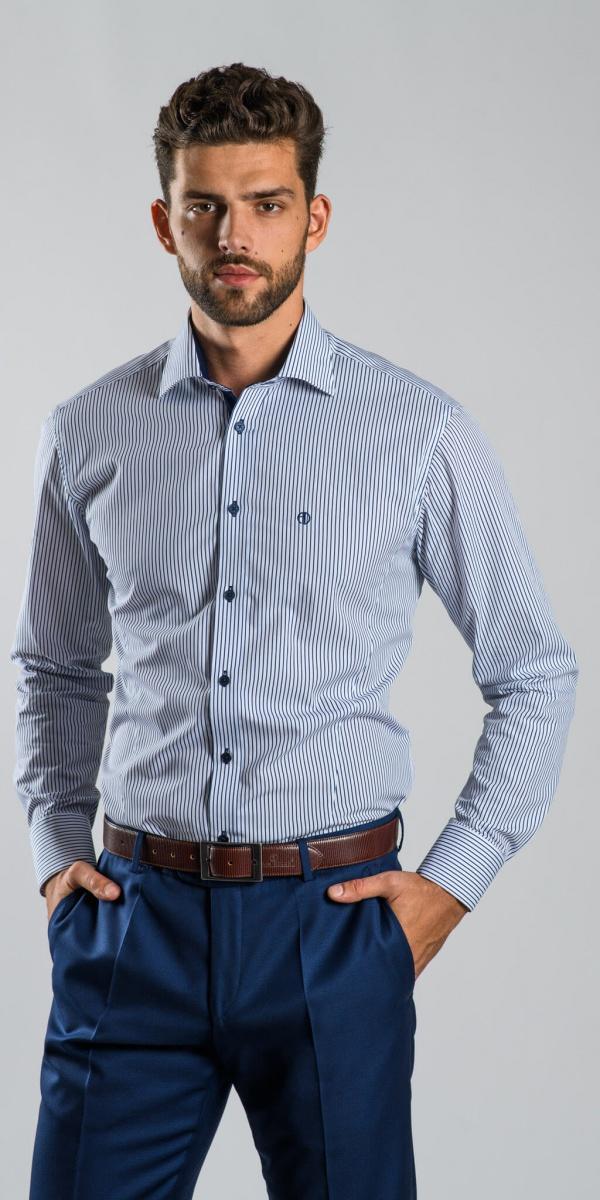 Modrá pružkovaná Extra Slim Fit košeľa