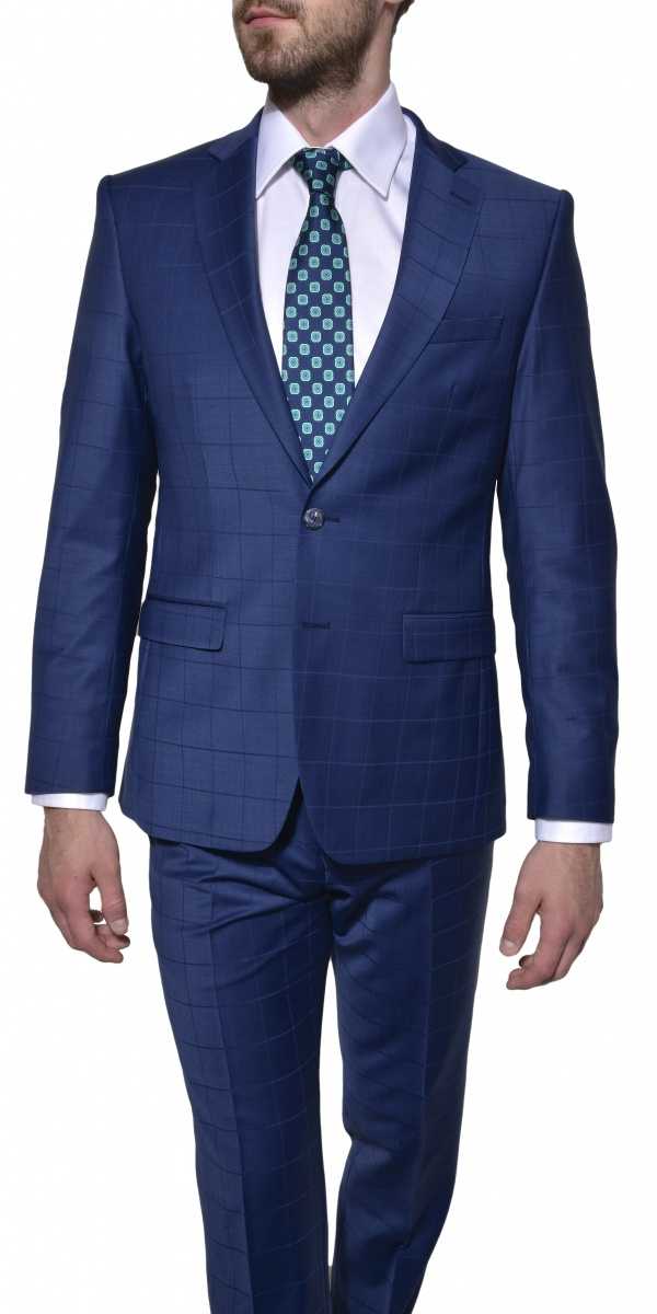 Modrý károvaný Ultra Slim Fit oblek