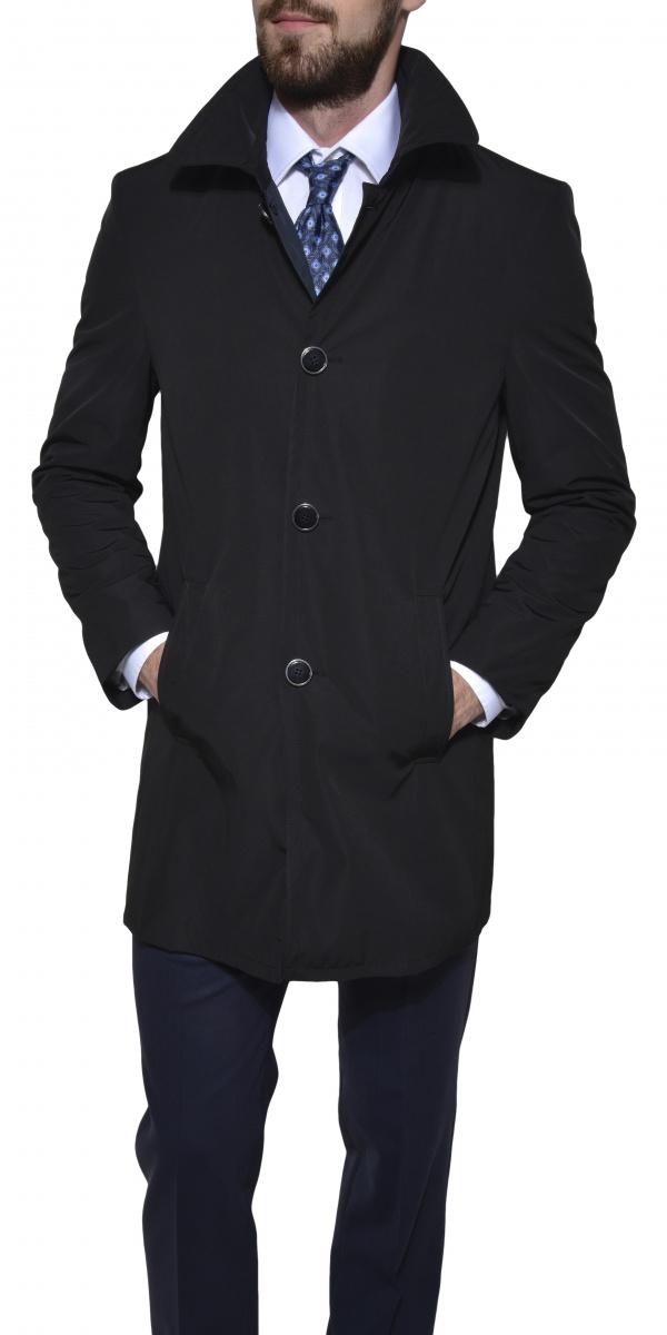 Čierny trenchový kabát