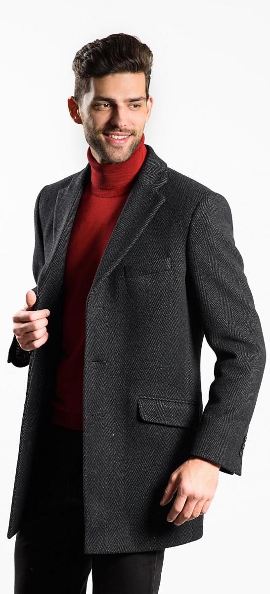 Šedo-čierny flaušový kabát