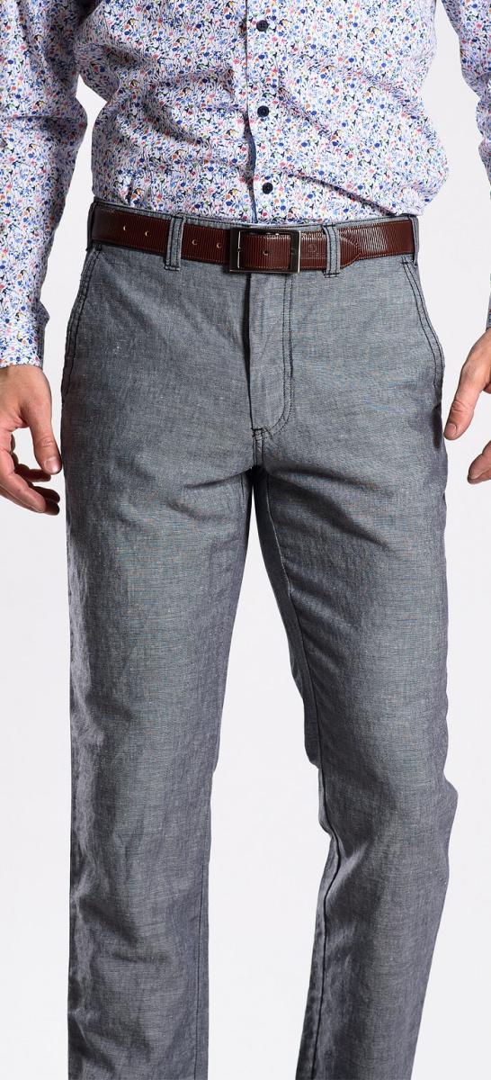Šedé ľanové nohavice