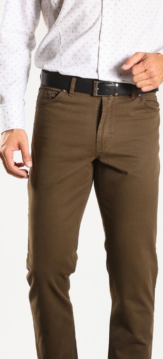 Khaki džínsové nohavice