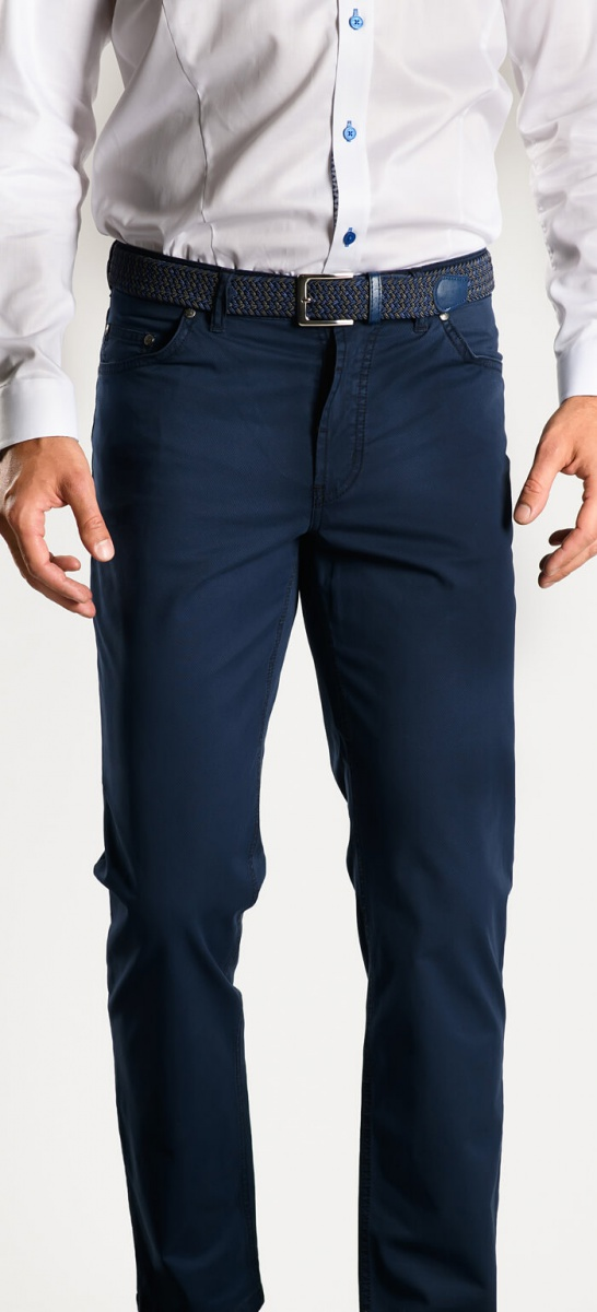 Dark blue cotton trousers - Basic line