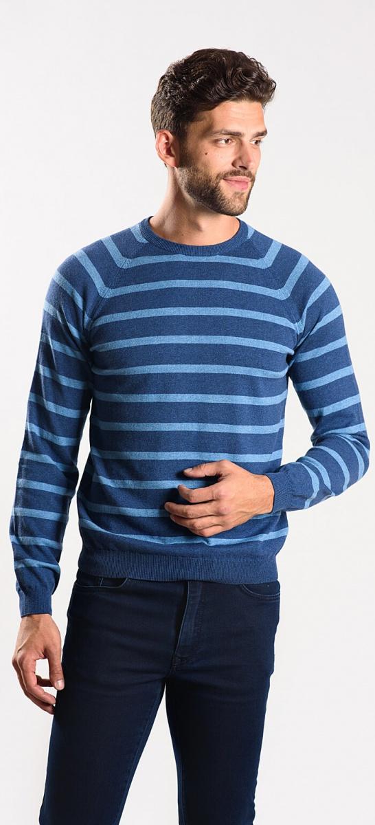 Blue cotton crewneck